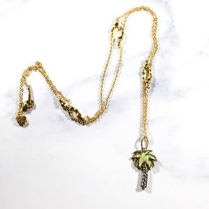 Lauren G. Adams Long Gold Tone Palm Tree Necklace